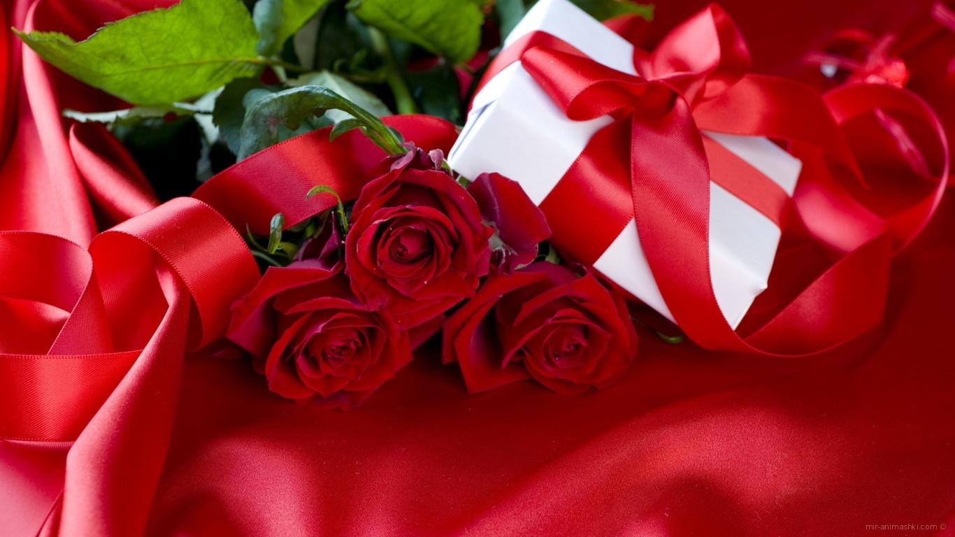 Розы, обвитые алой лентой для любимой на 8 марта - C 8 марта поздравительные картинки