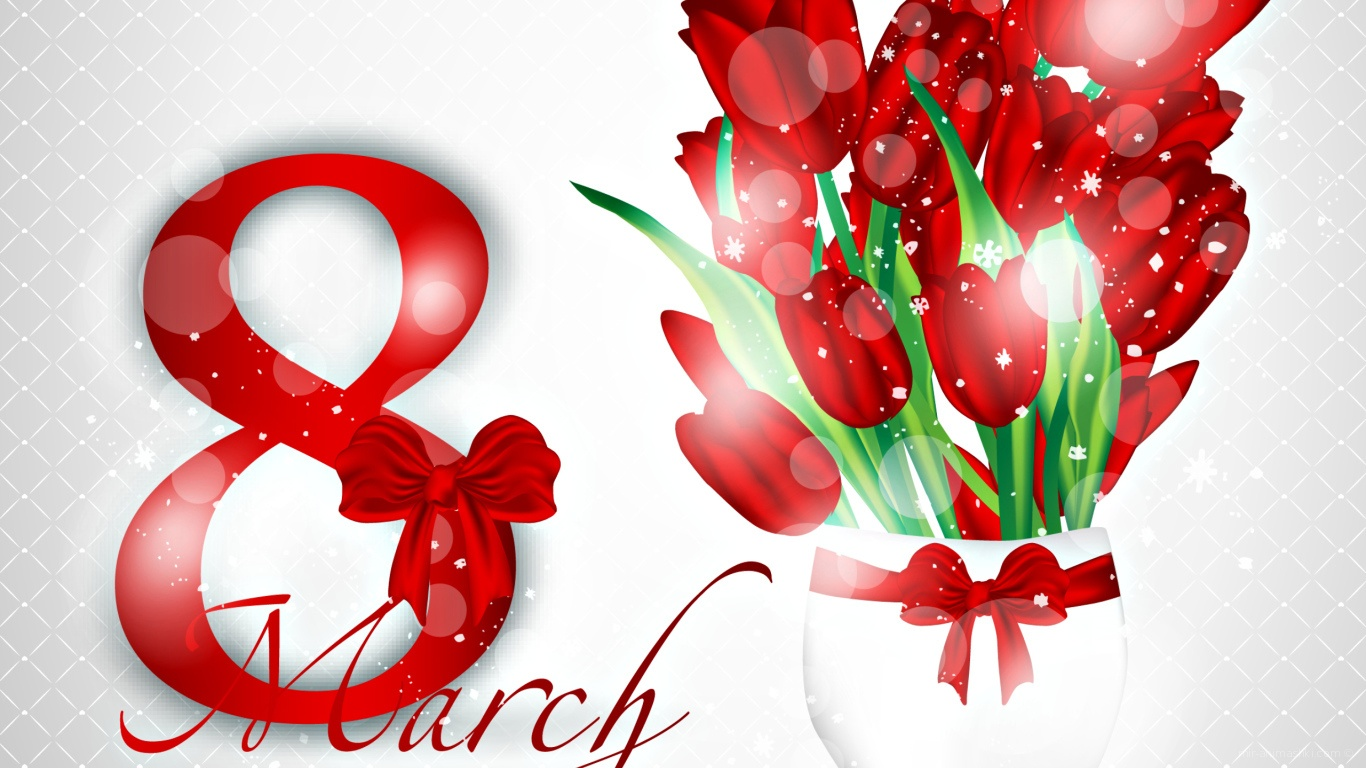 Открытка с красивым букетом тюльпанов на 8 марта - C 8 марта поздравительные картинки