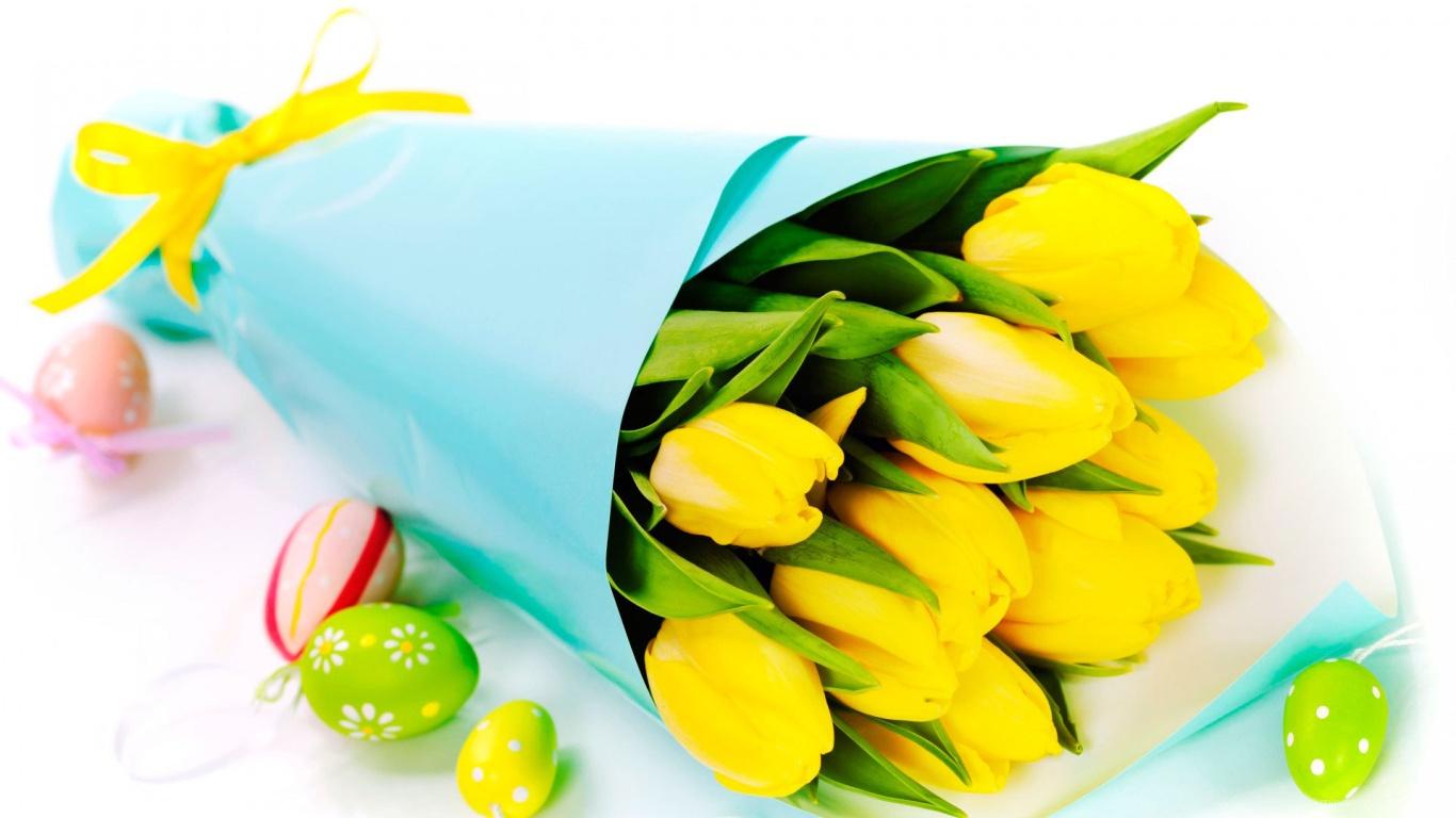 Букет желтых тюльпанов на Пасху - C Пасхой 2017 поздравительные картинки