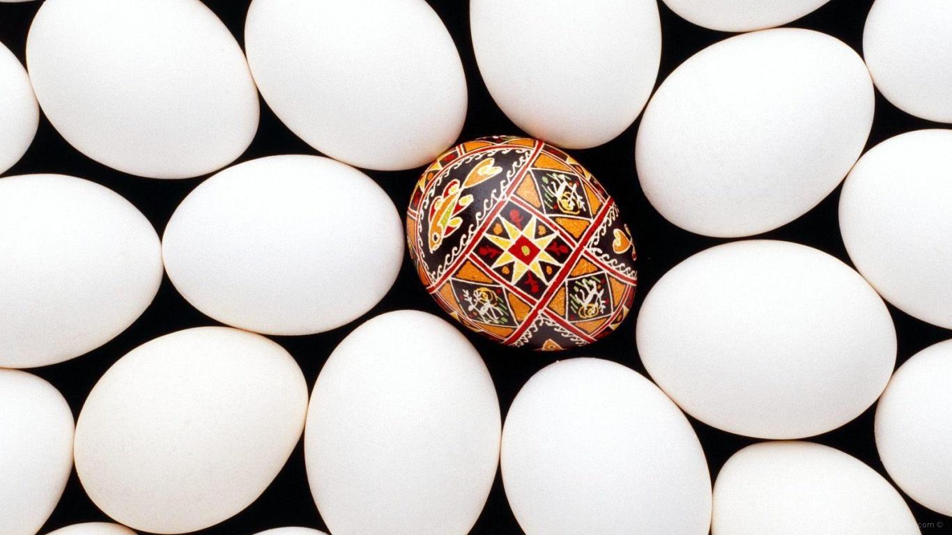 Крашенное яйцо среди белых на Пасху - C Пасхой поздравительные картинки