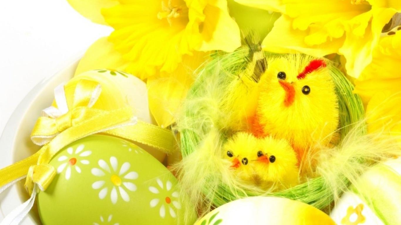 Желтые цыплята на Пасху - C Пасхой поздравительные картинки