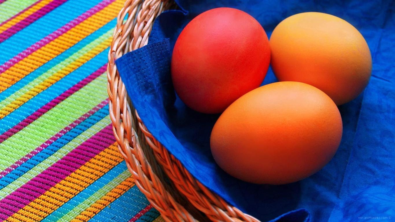 Яйца на синей салфетке на Пасху - C Пасхой поздравительные картинки