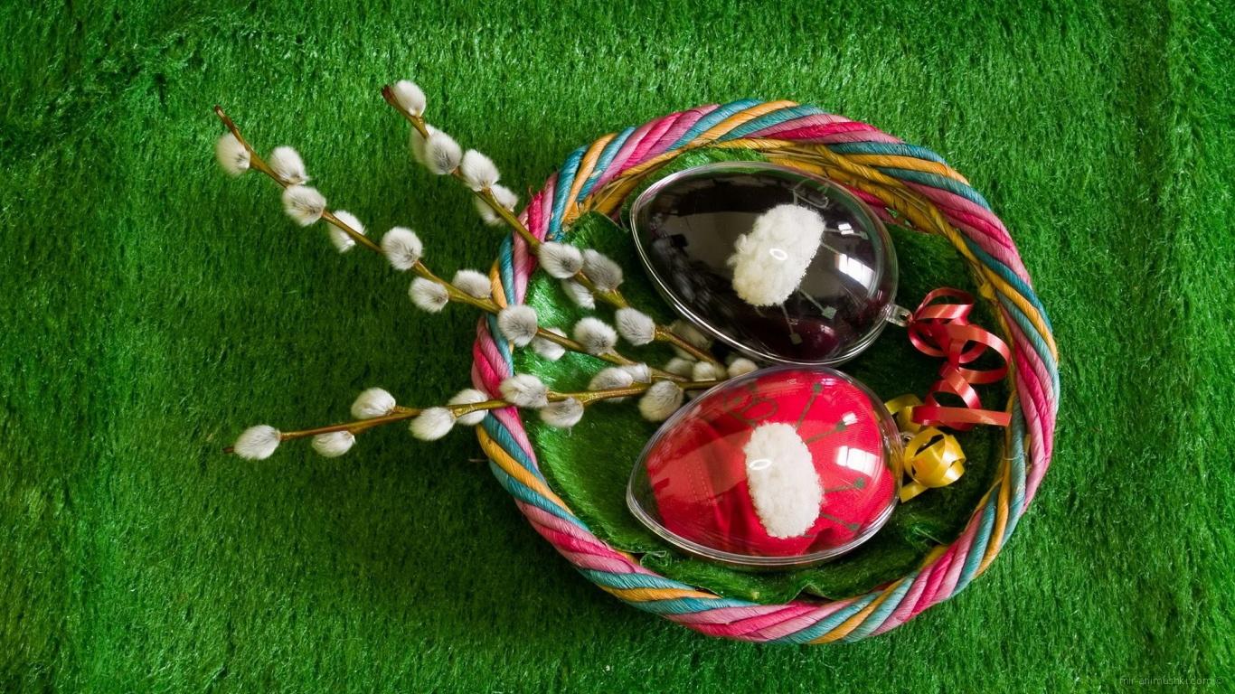 Яйца и мимоза на Пасху - C Пасхой поздравительные картинки