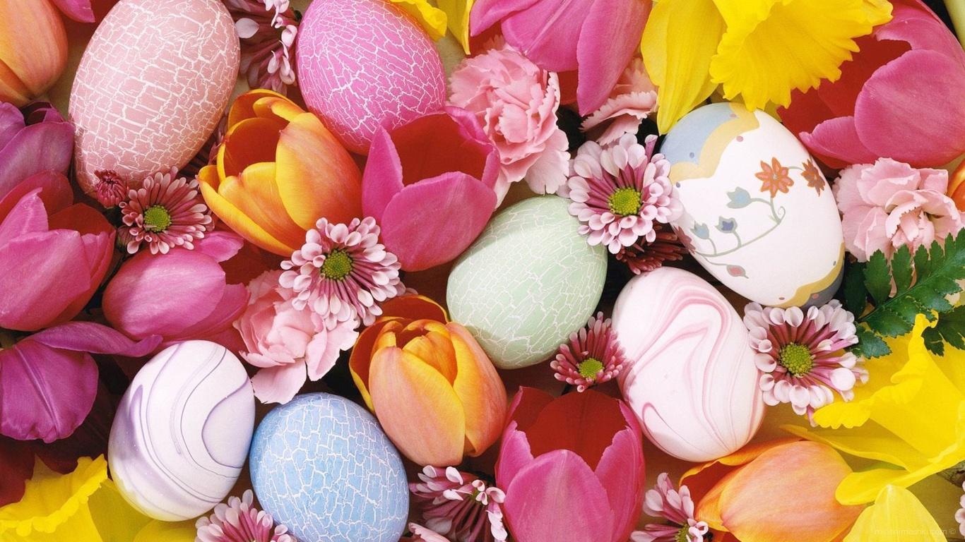 Яйца и цветы на Пасху - C Пасхой поздравительные картинки