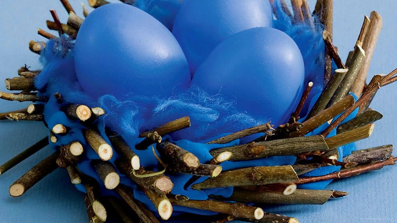 Синие яйца на Пасху - C Пасхой поздравительные картинки