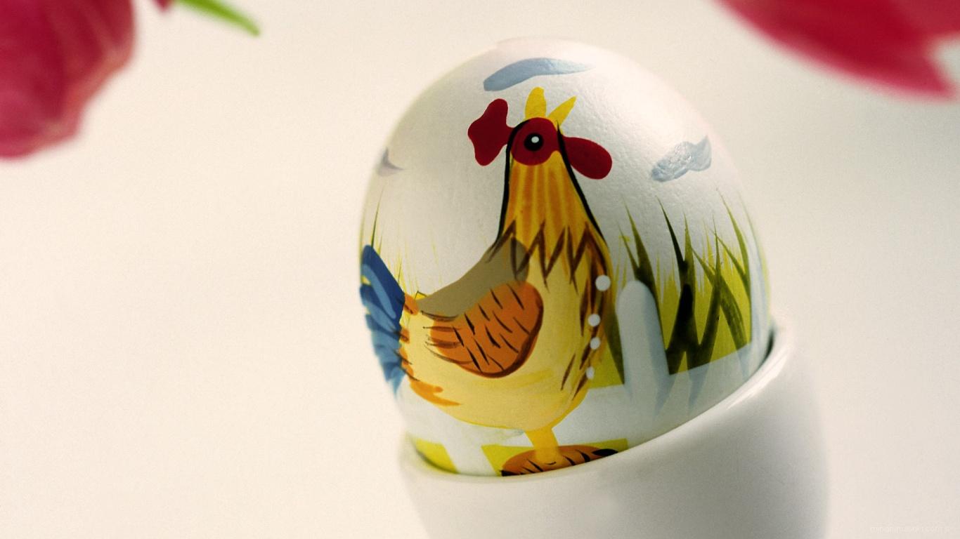 Яйцо с рисунком петушка на Пасху - C Пасхой поздравительные картинки