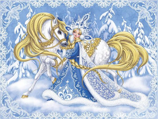 Рисунок Снегурочка - Дед Мороз и Снегурочка поздравительные картинки