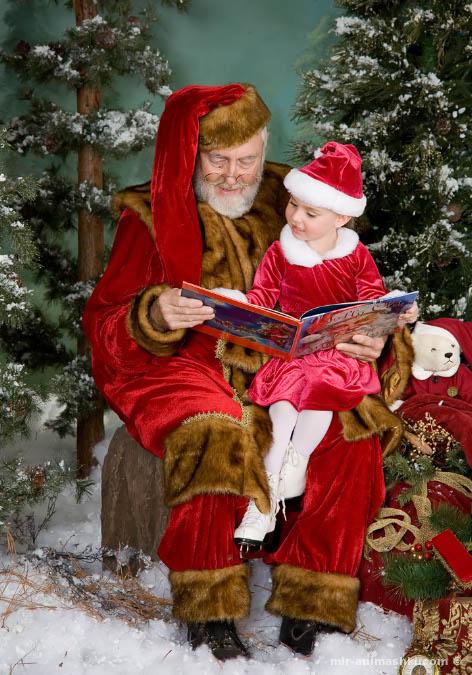 Санта Клаус с ребёнком - Дед Мороз и Снегурочка поздравительные картинки