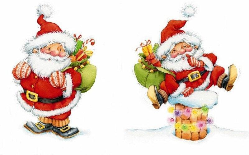 Новогодний фон для декупажа - Дед Мороз и Снегурочка поздравительные картинки