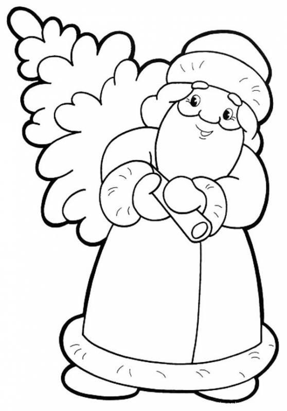 Раскраска дед Мороз и елка - Дед Мороз и Снегурочка поздравительные картинки