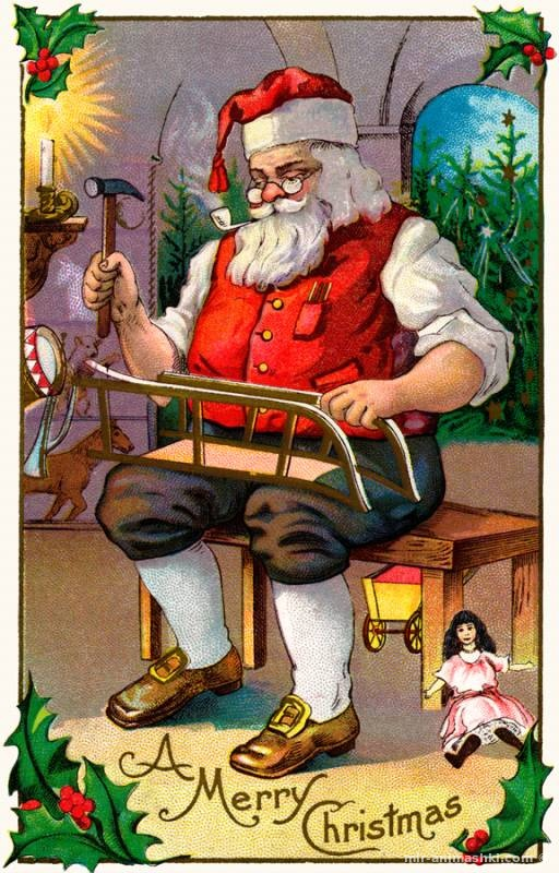 Американская рождественская открытка с Дедом Мороз - Дед Мороз и Снегурочка поздравительные картинки