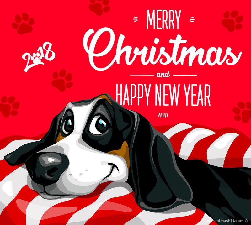С Наступающим 2018 новым годом Собаки - C наступающим новым годом 2018 поздравительные картинки
