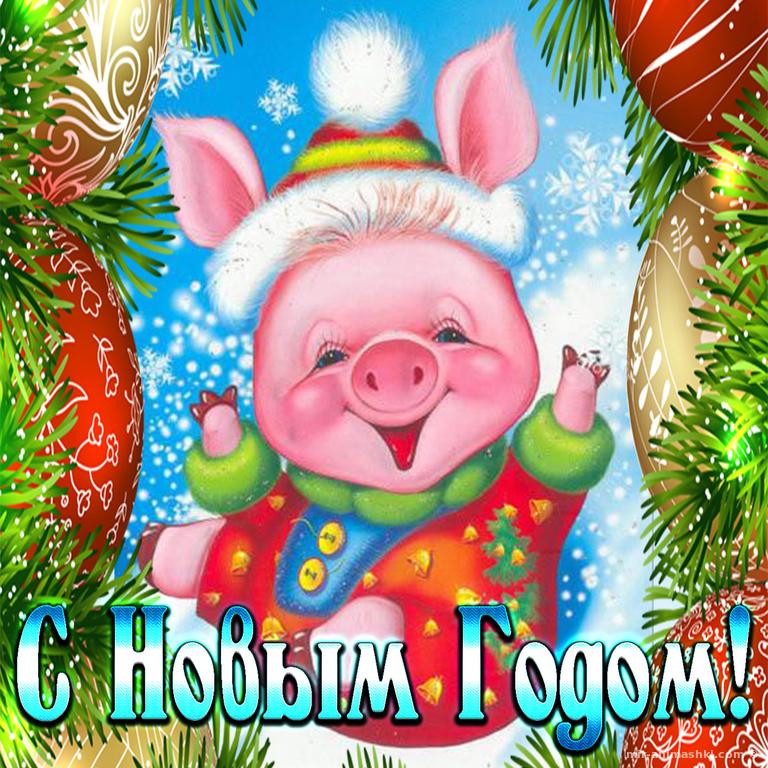 Открытка на Новый год Свиньи - C Новым годом  2019 поздравительные картинки