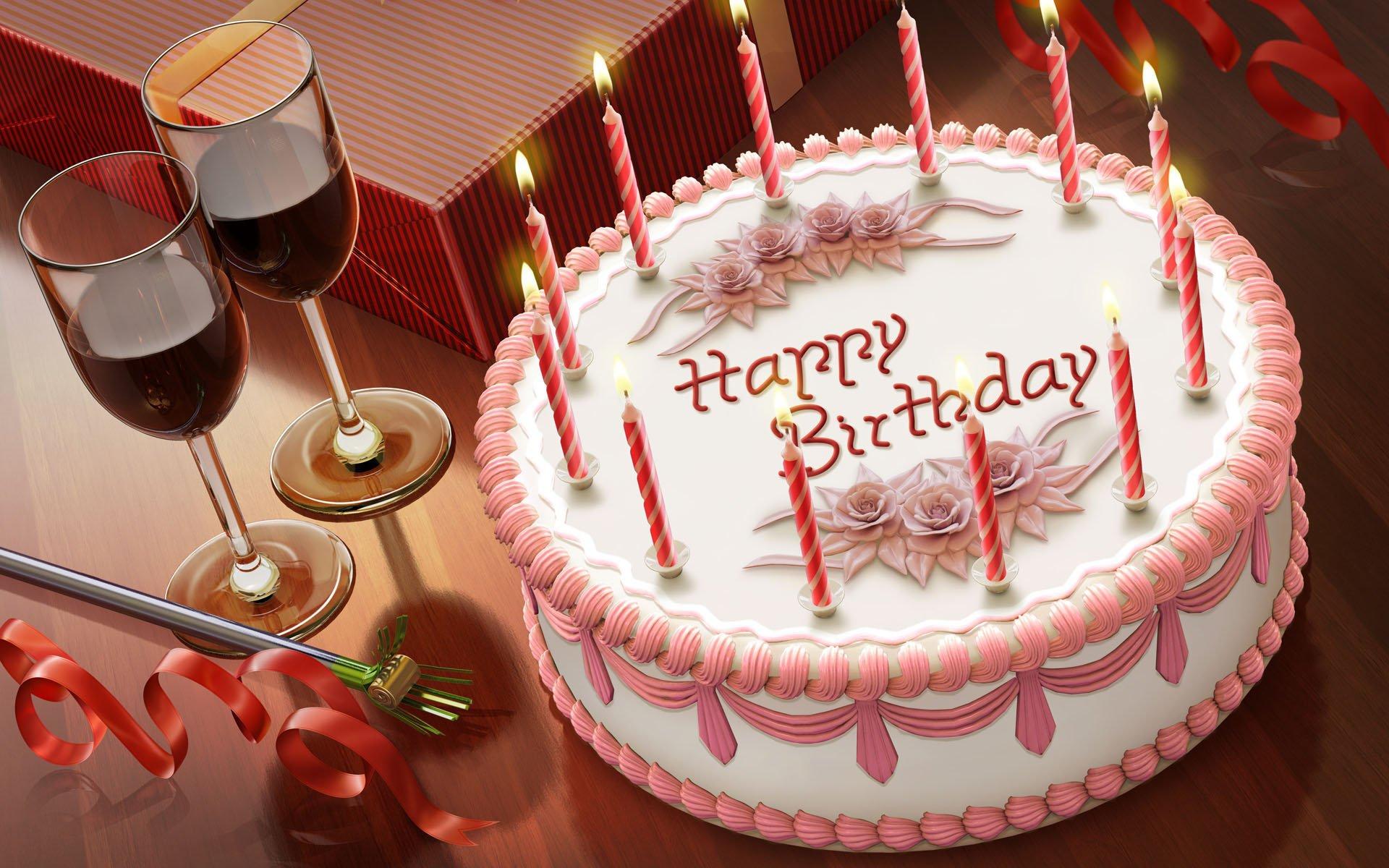 Торт на день рождения и красное вино - С Днем Рождения поздравительные картинки