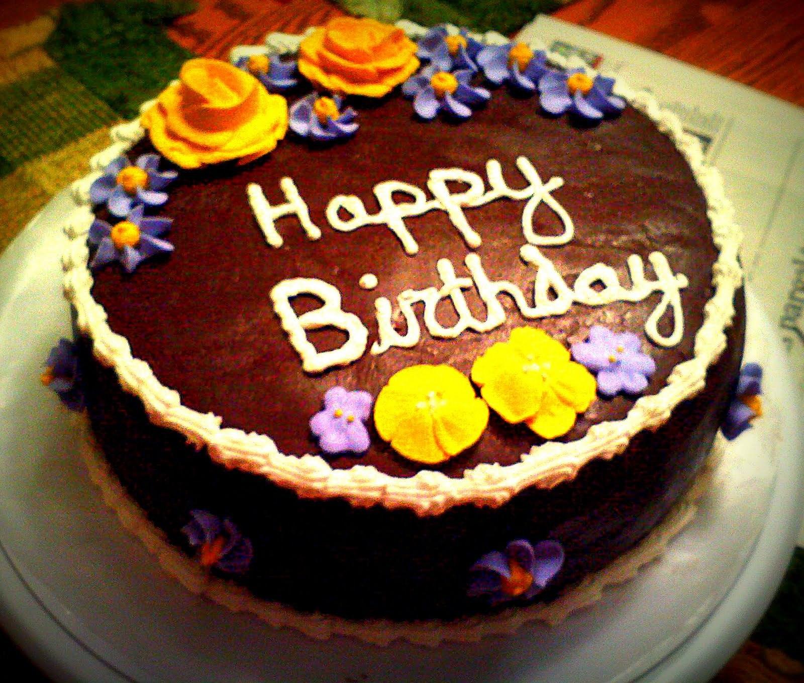 Шоколадный торт на день рождения - С Днем Рождения поздравительные картинки