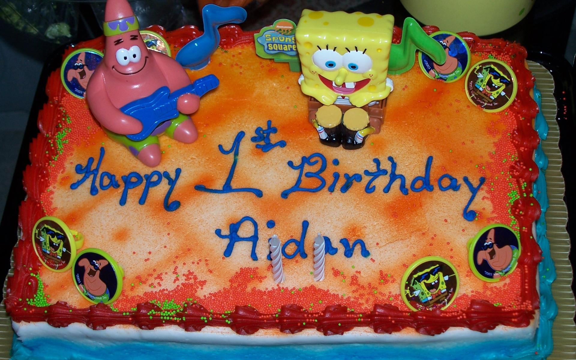 Губка Боб Квадратные Штаны торт ко дню рождения - С Днем Рождения поздравительные картинки