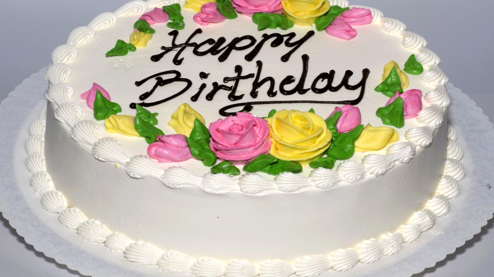 Красивый торт ко дню рождения с розами - С Днем Рождения поздравительные картинки