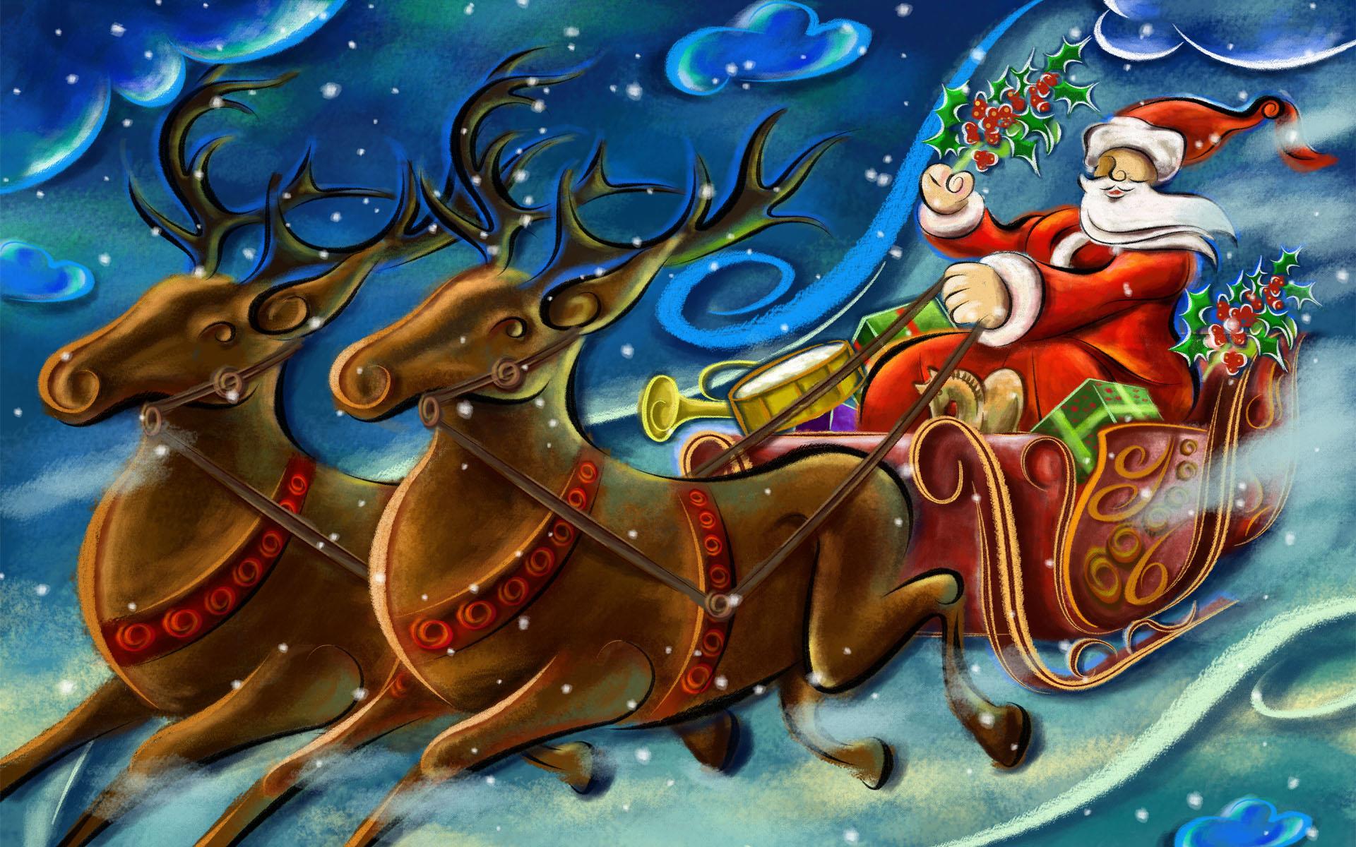 Санта Клаус / Новый Год - C Новым годом  2018 поздравительные картинки