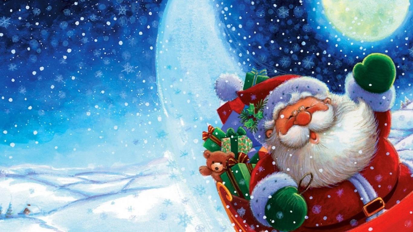 Санта Клаус в повозке - C Новым годом  2018 поздравительные картинки