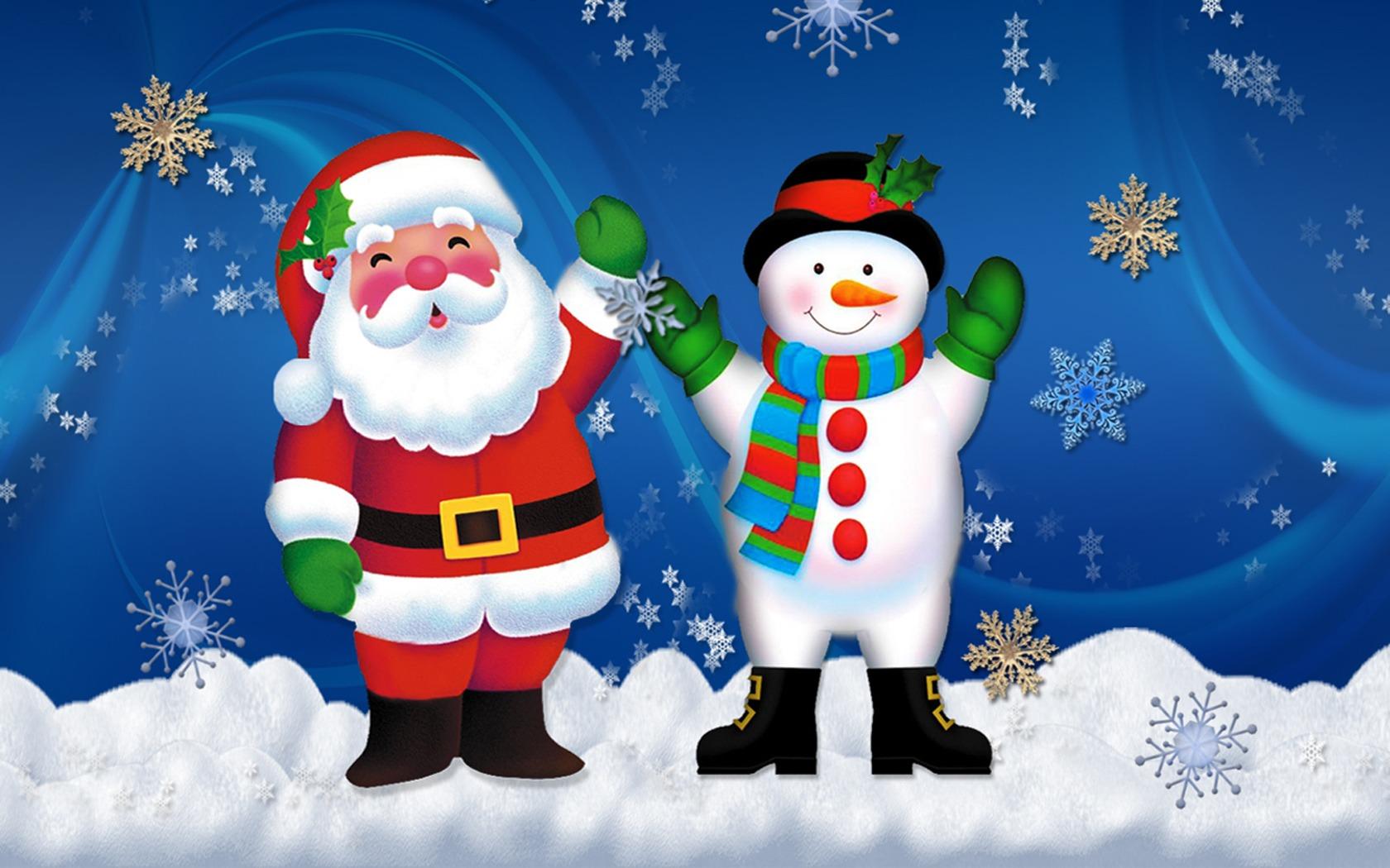 Снеговик и Санта Клаус - C Новым годом  2018 поздравительные картинки