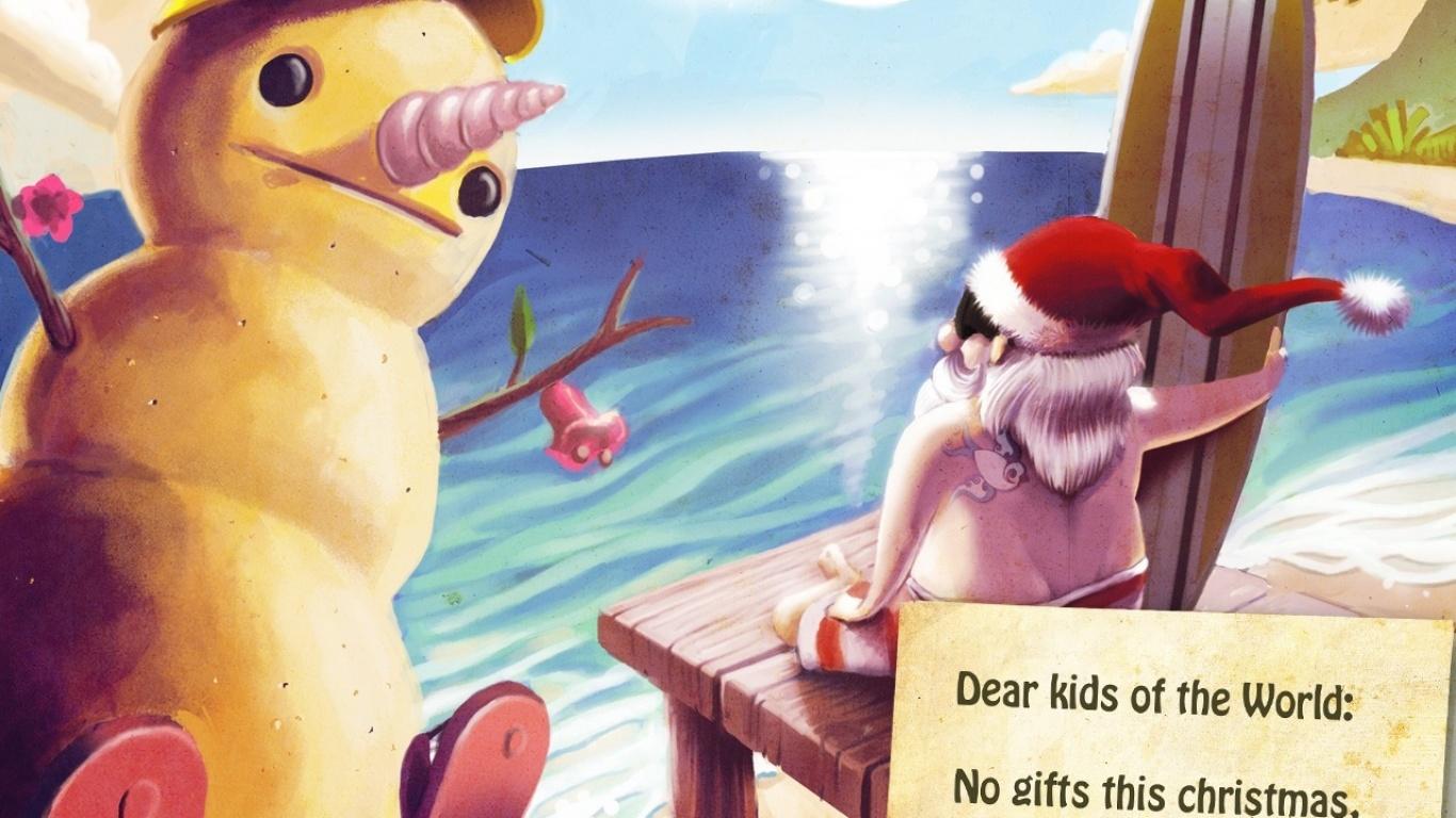 Санта Клаус в отпуске - C Новым годом  2018 поздравительные картинки