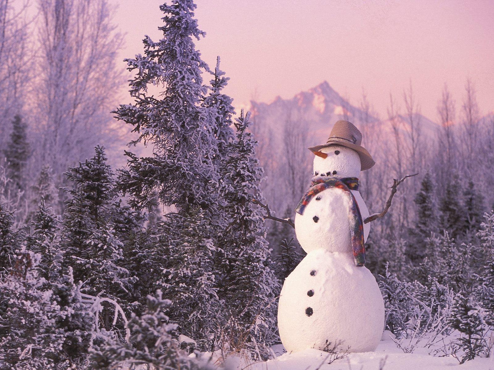 Снеговик в лесу - C Новым годом  2018 поздравительные картинки