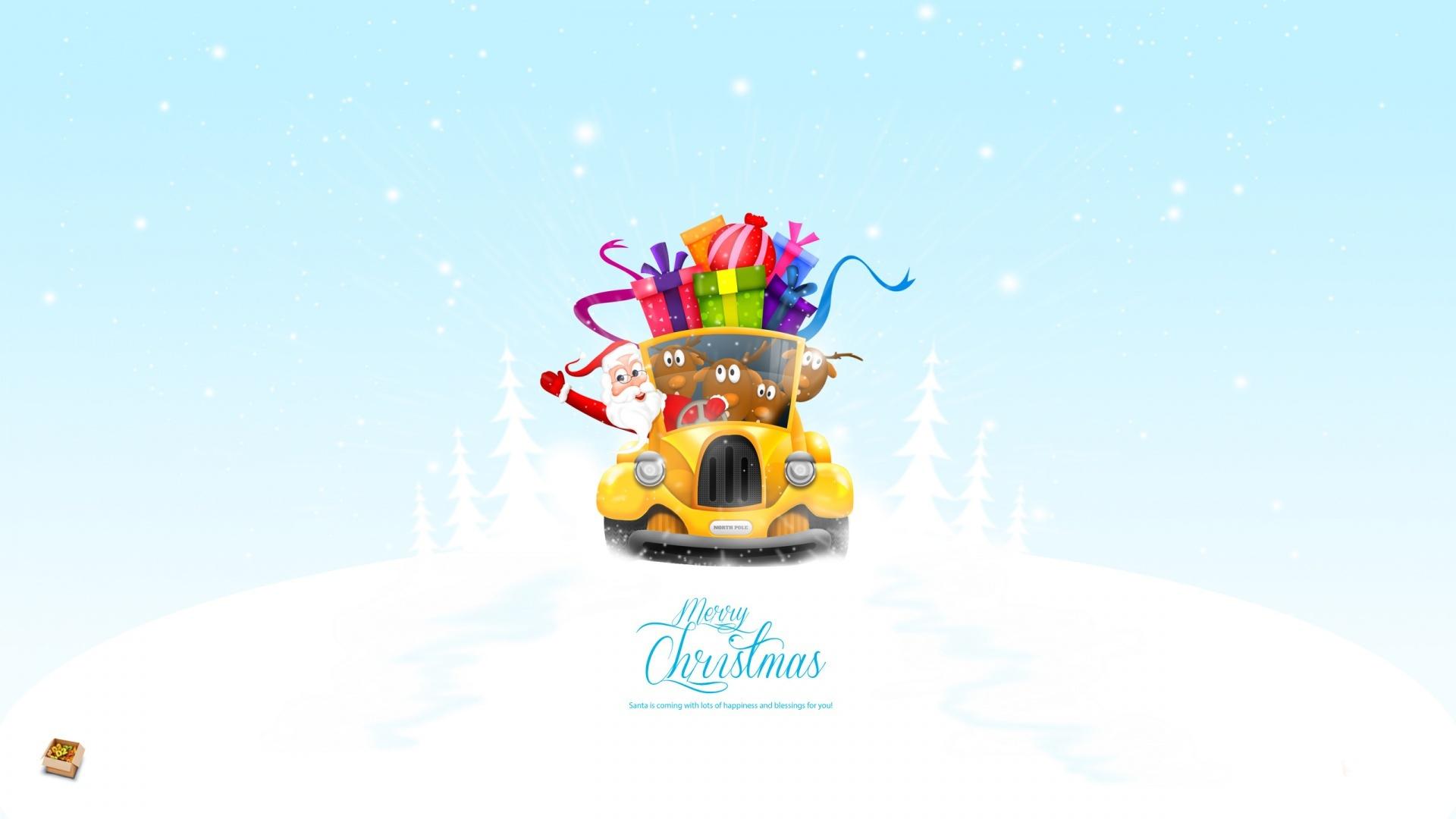 Дед мороз на автомобиле - C Рождеством Христовым поздравительные картинки