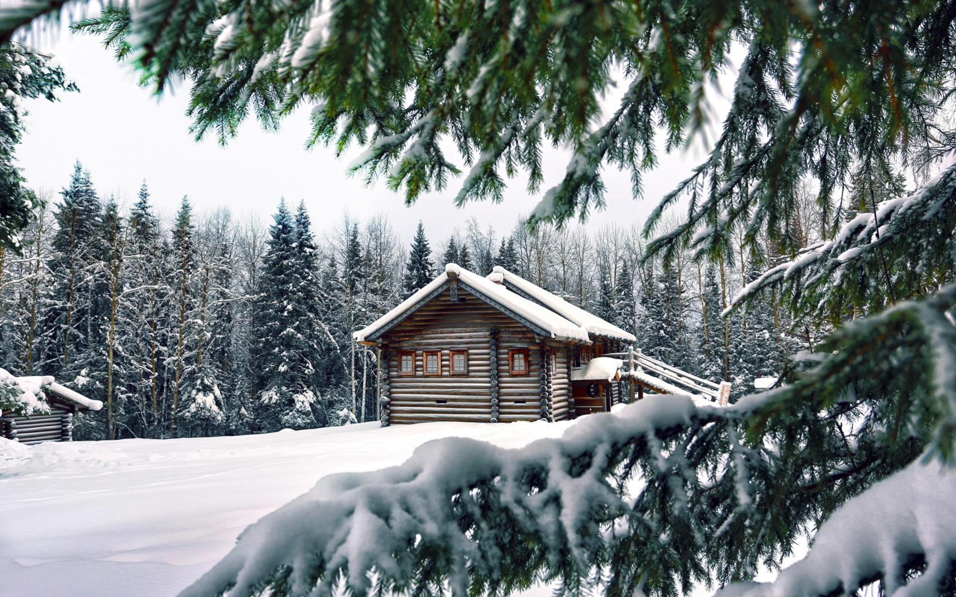 Домик в снежном лесу - C наступающим новым годом 2017 поздравительные картинки