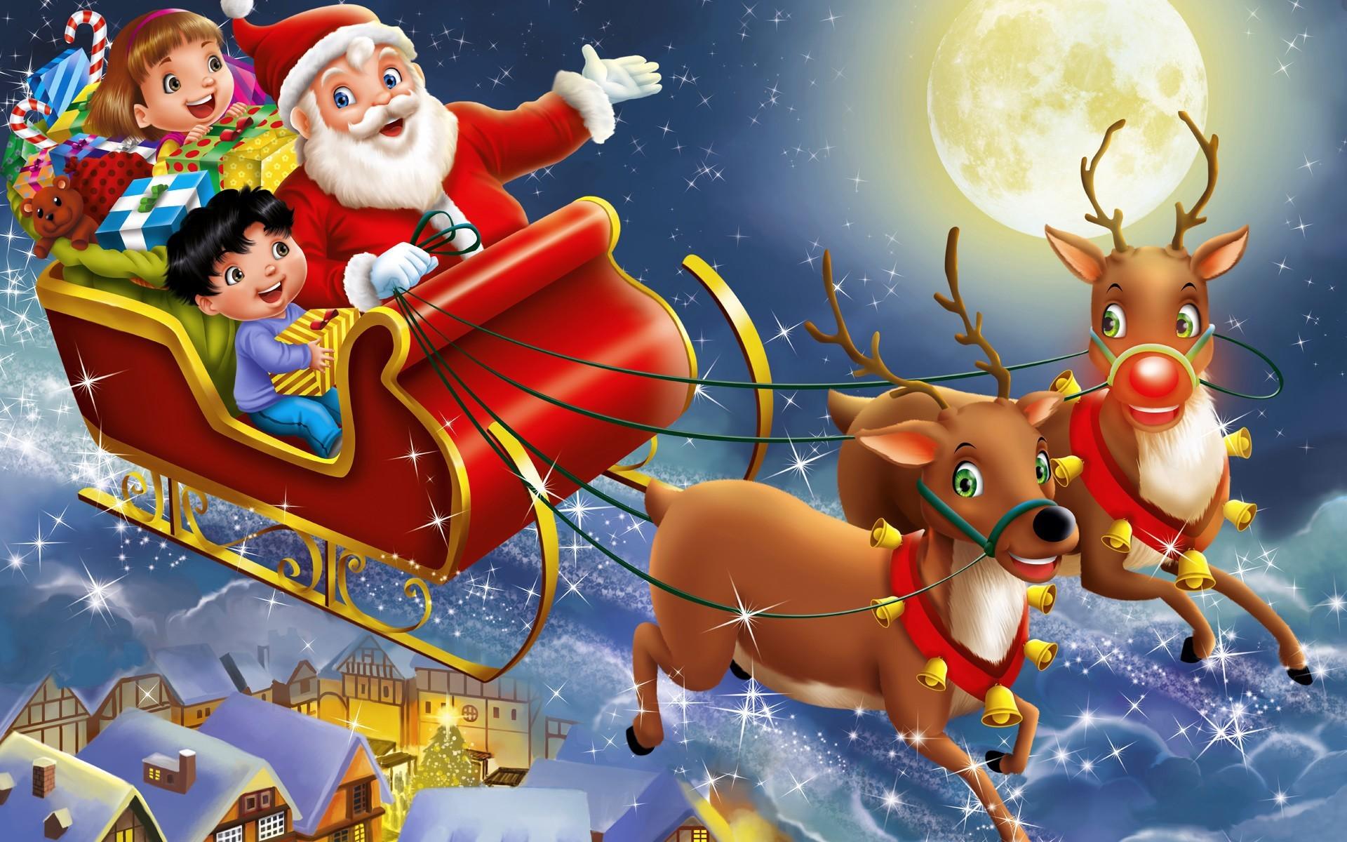 Санта клаус с детьми на оленях - C Рождеством Христовым поздравительные картинки
