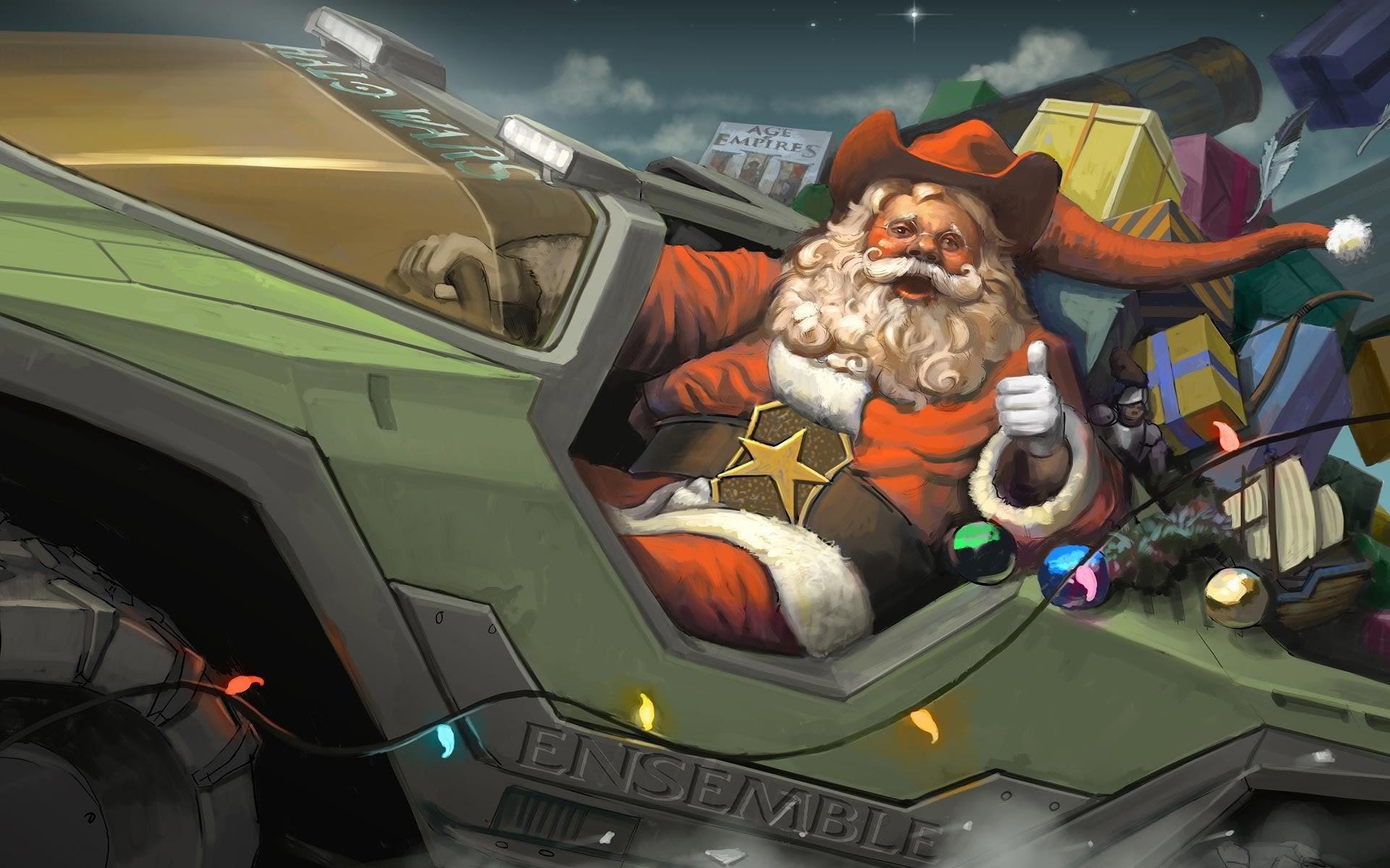 Военный Санта клаус - C Рождеством Христовым поздравительные картинки