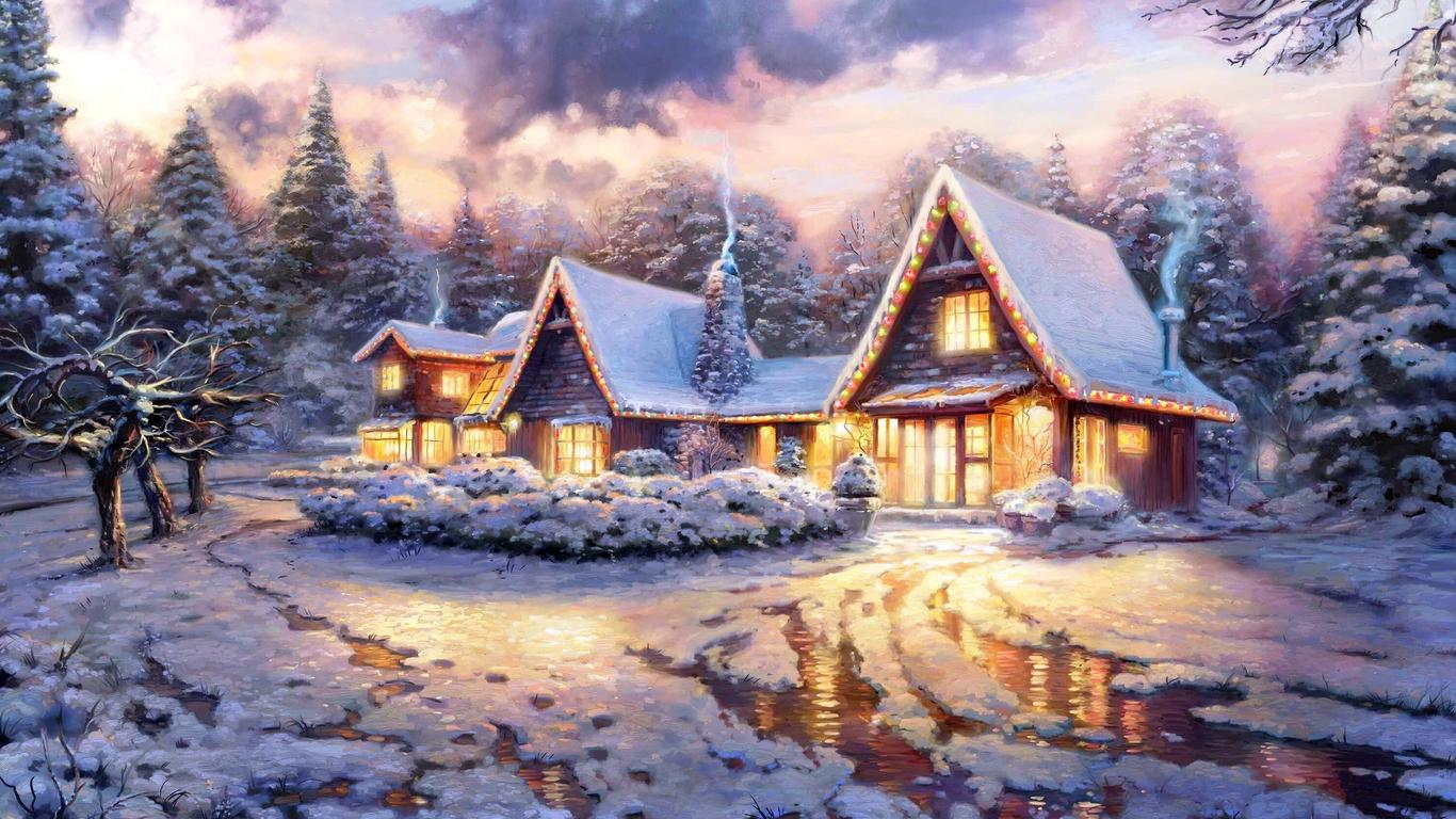 Сказочный новогодний дом - C наступающим новым годом 2018 поздравительные картинки