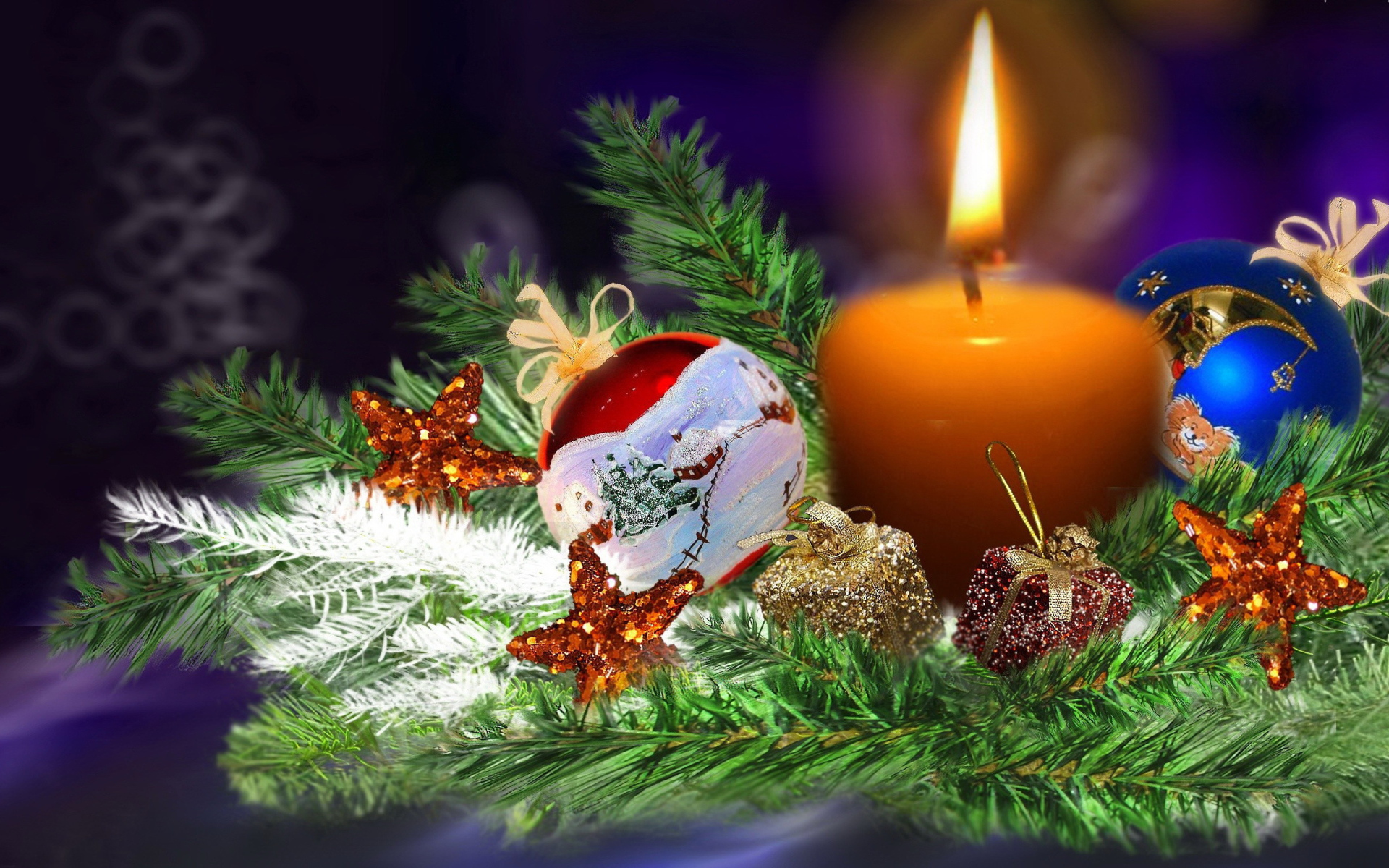 Свеча на ветке елки - C Рождеством Христовым поздравительные картинки