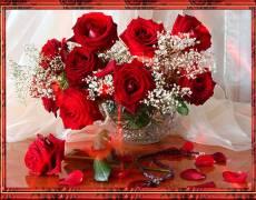 Розы в хрустальной вазе