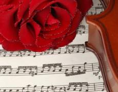 Красная роза и ноты