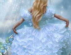 Девушка в белом платье бежит к небу